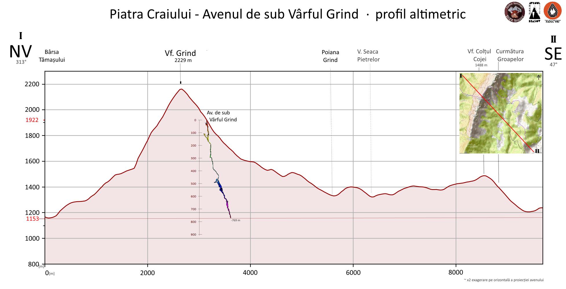 Avenul de sub Vârful Grind - Piatra Craiului  profil altimetric