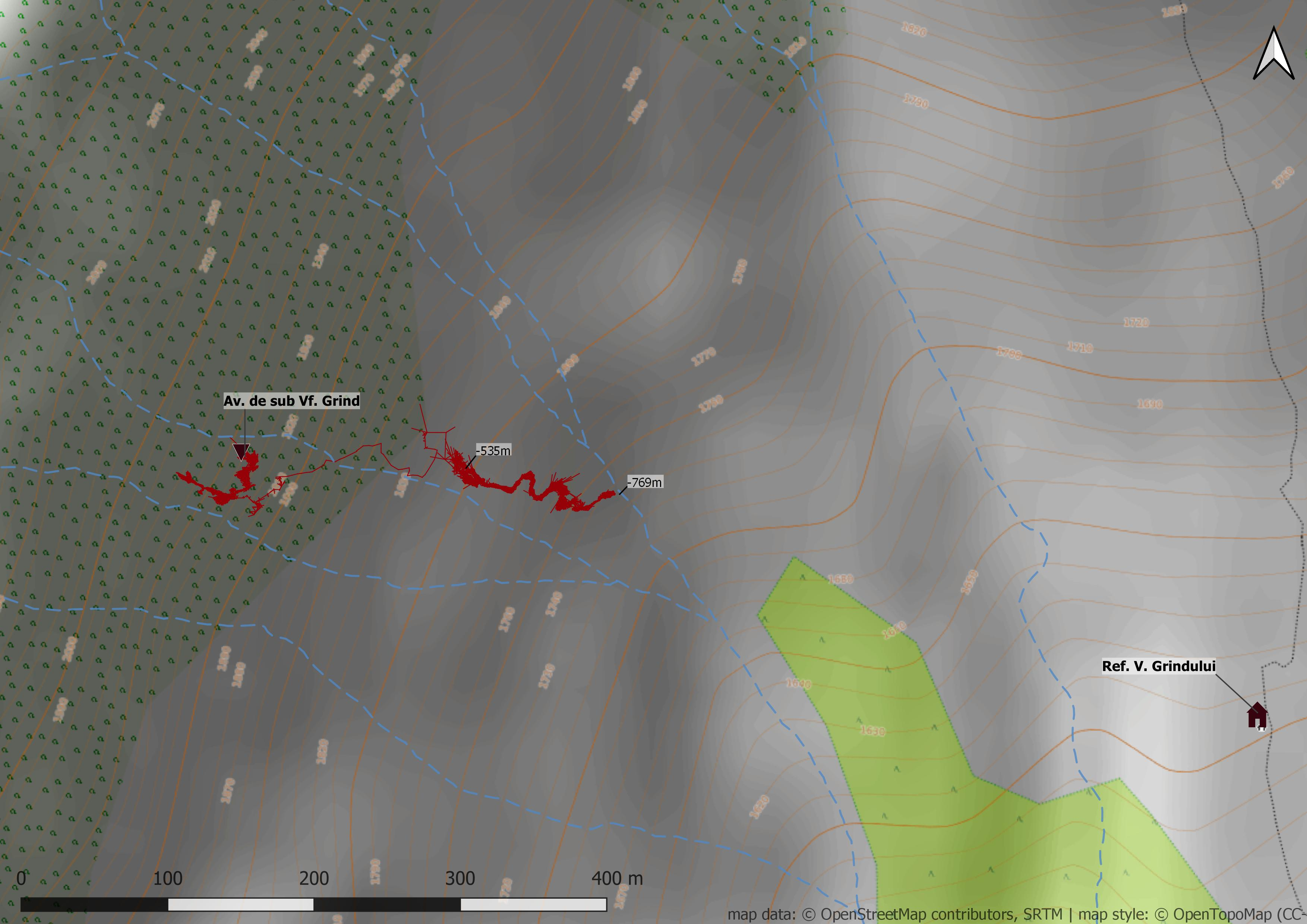 Avenul de sub Vârful Grind - hartă suprafață
